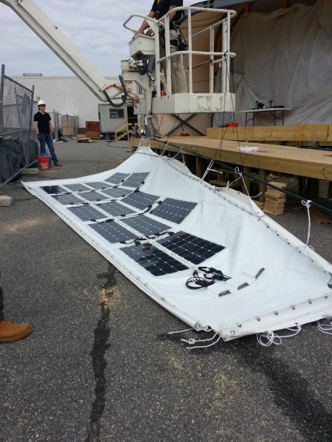 Solar membrane installation, courtesy Pvilion