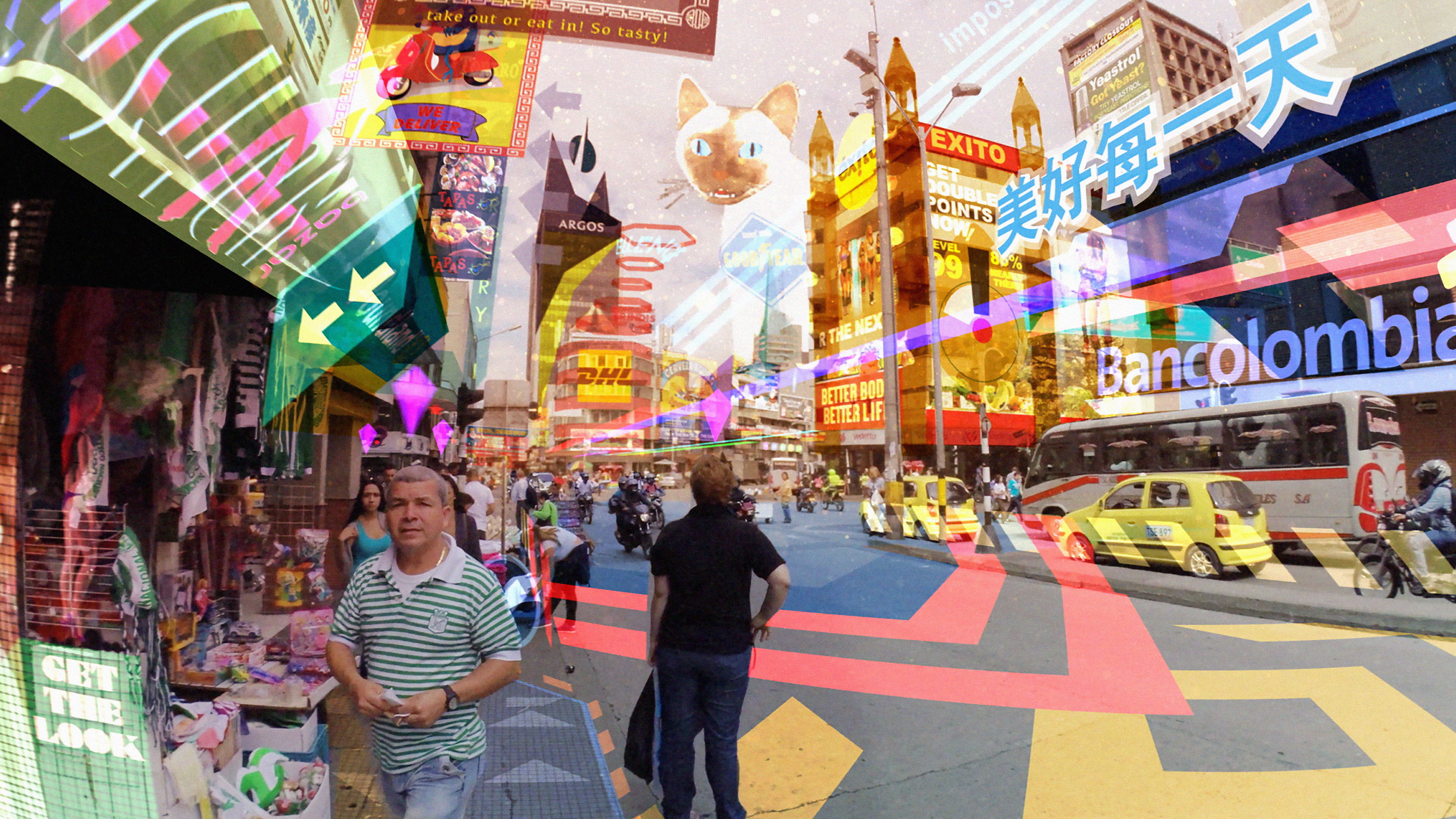 hyper reality Every physical surface in hyper-reality has been plastered with holographic images, often to the point of obscuring the underlying world altogether.