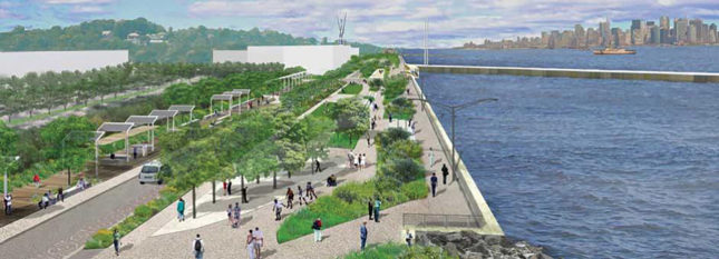 The New Stapleton Waterfront is intended to draw visitors out of ferry terminal and onto the waterfront. (NYDEC)