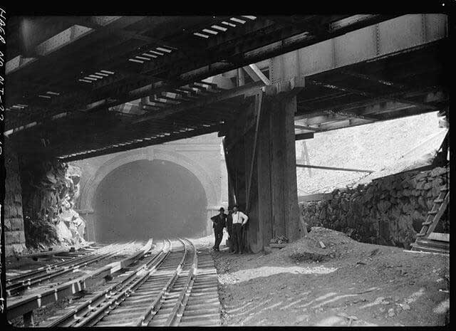 An archival photo of the railway arches. (Image via Jersey Digs)