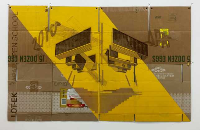 Foldable #7. 2016. Laser-cut upcycled, folded cardboard boxes, sprayed acrylic, grommets, yellow string, acid free glue, and artist's metal hanging pins mounted on wood and metal frame. Titled, signed and dated verso. 44 x 28 inches. (Courtesy the artists and Alden Projects)
