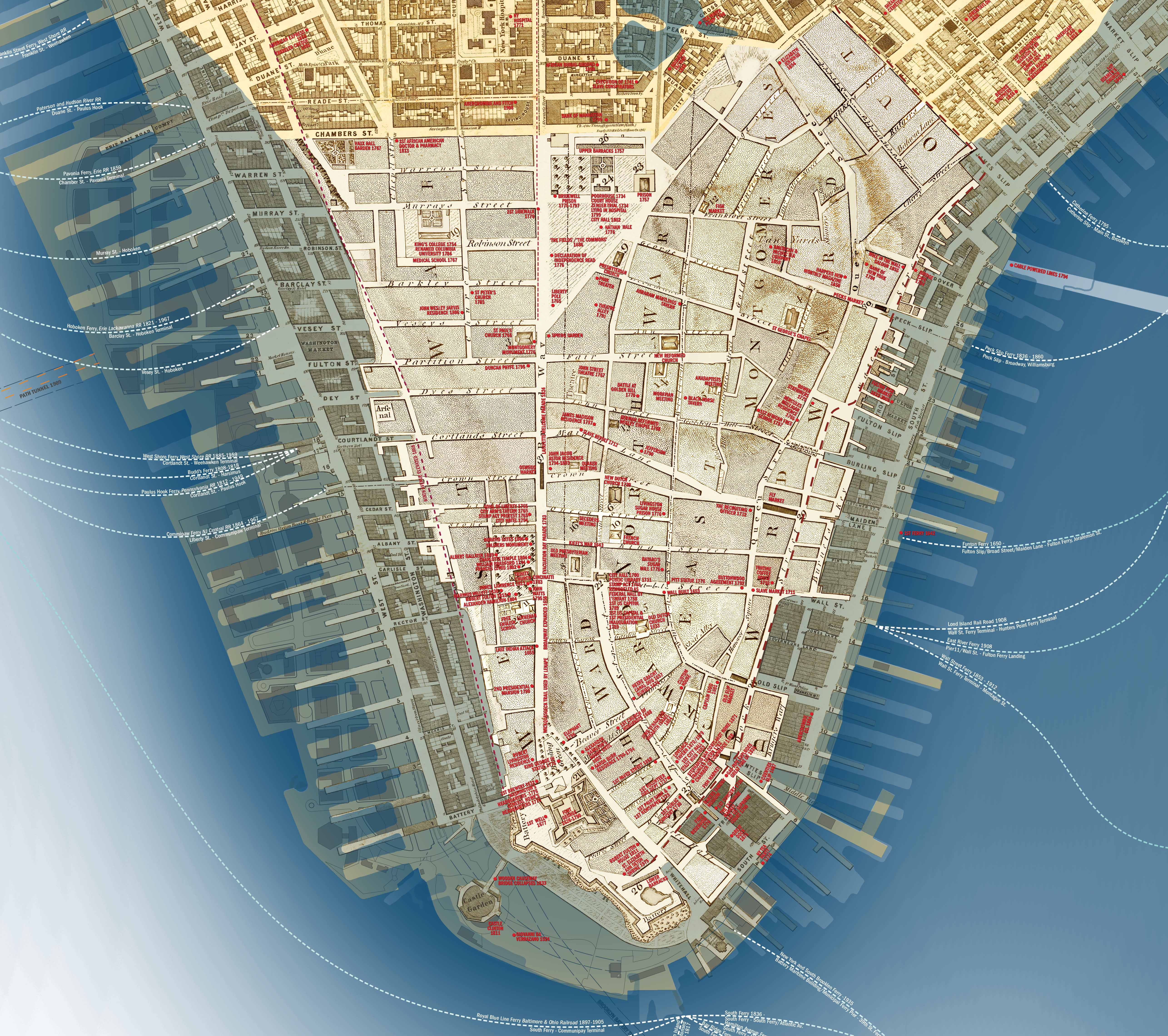 CultureNOW publishes its Lower Manhattan Then and NOW Map