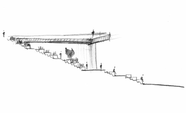 Terrace sketch showing the viewing platform initial design. (Courtesy FXFowle)