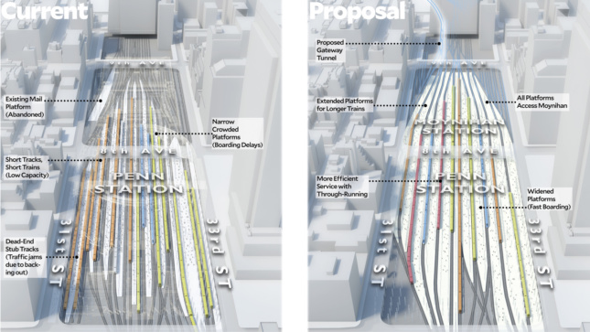 ReThink Studio believes that Penn Station is vital to fixing the region's transit problems, and it starts with changing which lines can come through the station in both directions. (Courtesy ReThink Studio)
