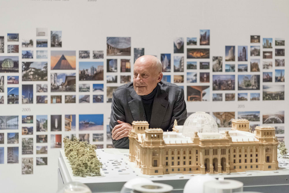 Norman Foster By A Model Of The Reichstag Building