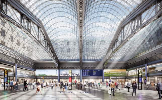 The current plan from Governor Cuomo's office would open up the dreary station with a glass ceiling. (Courtesy the Office of Governor Andrew Cuomo)