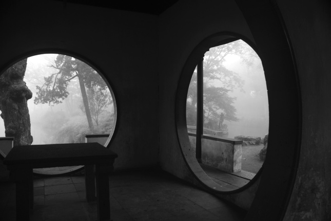 Looking northwest from Wu Zhu Yu Ju (Secluded Lodge of Wutong Trees and Bamboo), in morning mist. (Courtesy of Sun Xiong)