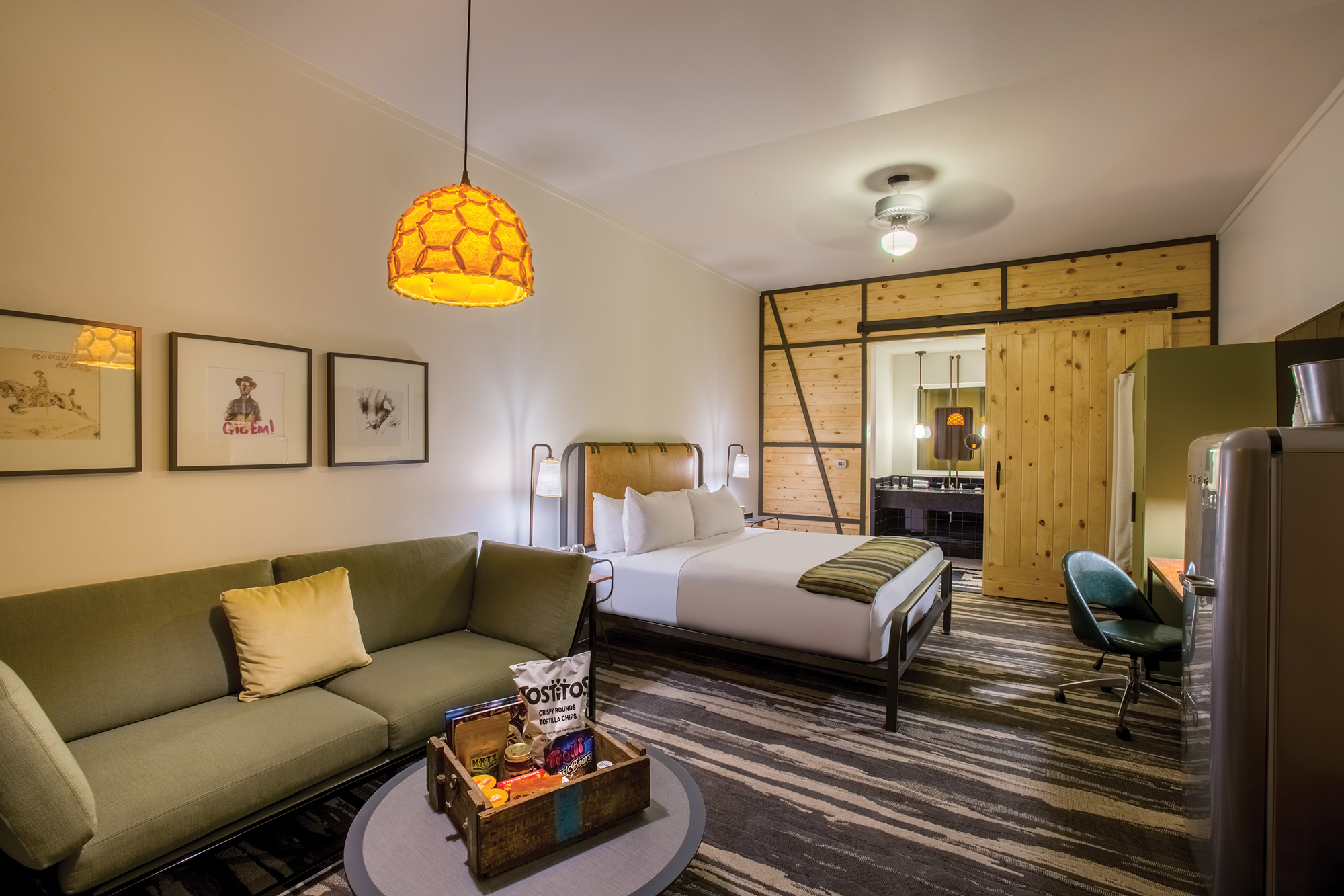 Military inspired design and decor fills this texas for Hotel decor items