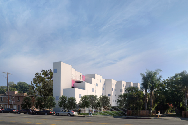 Michael Maltzan Architects' Crest Apartments, located in the traditionally suburban San Fernando Valley, features a stepped-back facade and a plan that tucks a multiuse parking and recreation area underneath the structure. (Courtesy Michael Maltzan Architects / Skid Row Housing Trust)