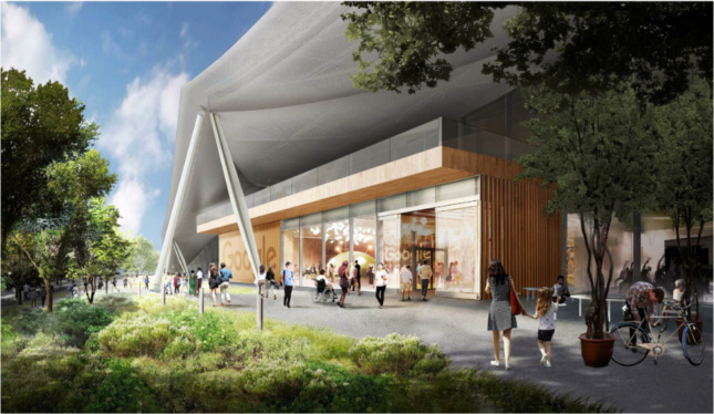 View of tent structure and ground level retail programs. (Courtesy Google, via City of Mountain View)