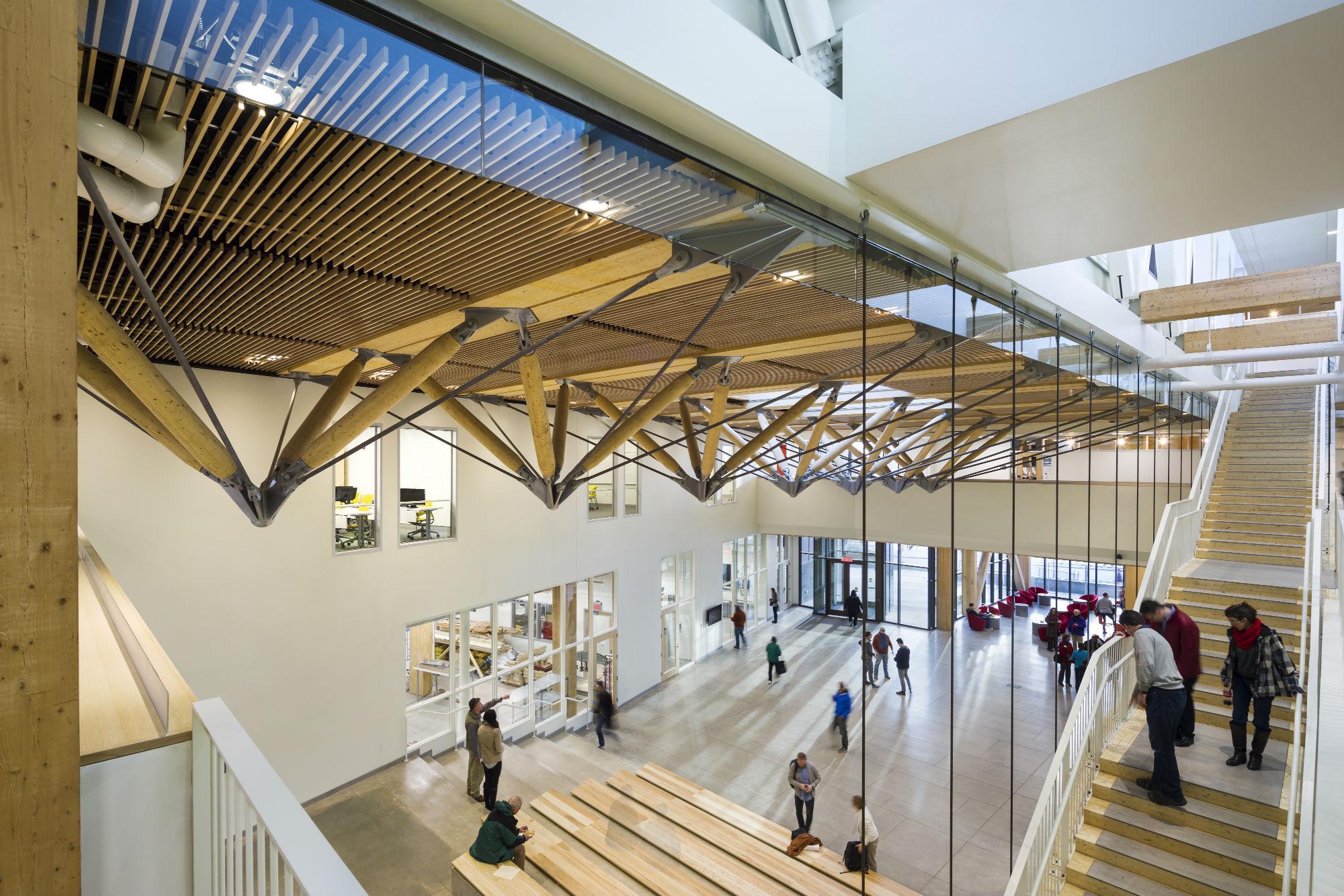cross laminated timber design building opens at umass amherst