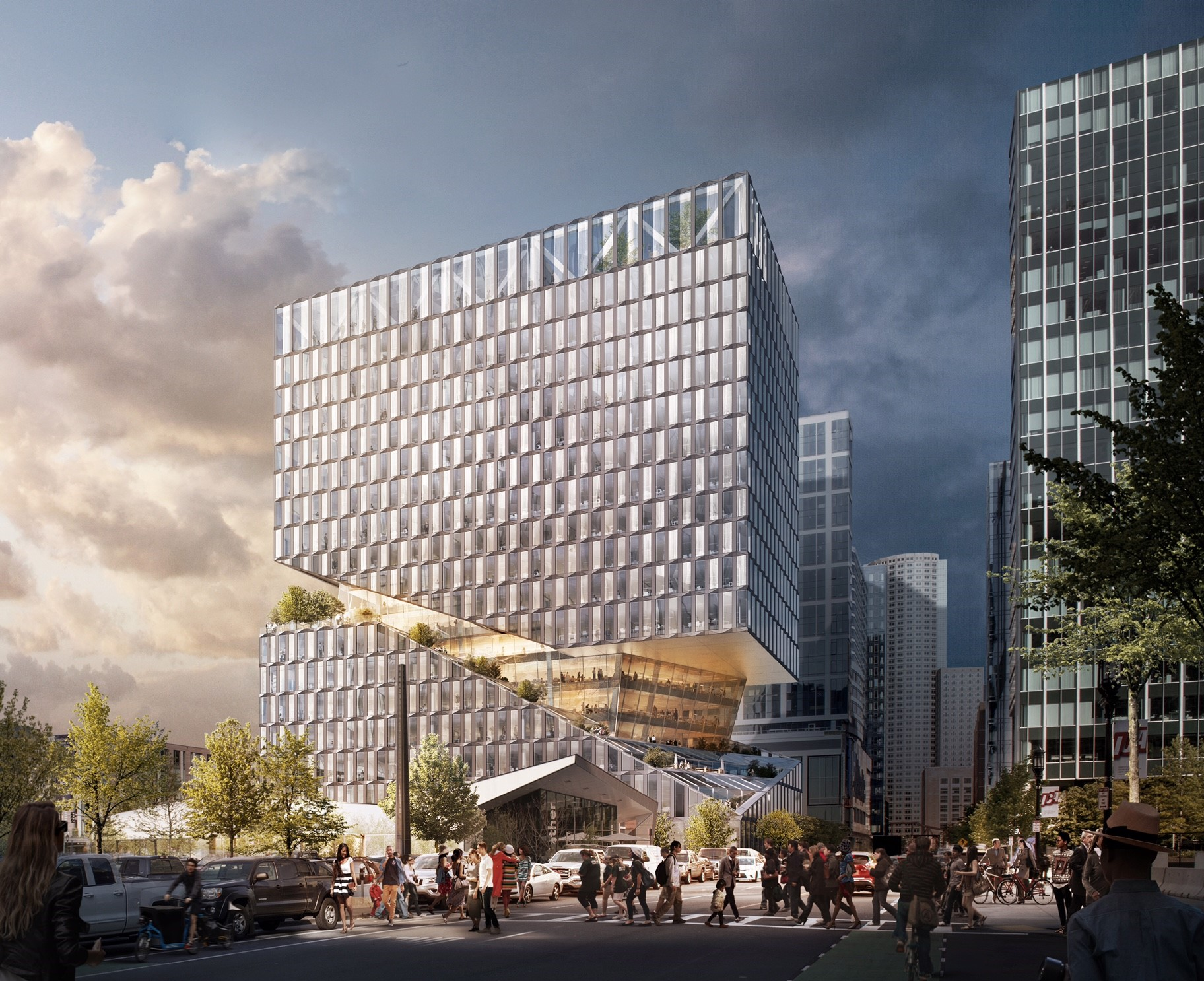 OMA Unveils Cantilevered Design For Boston Seaport