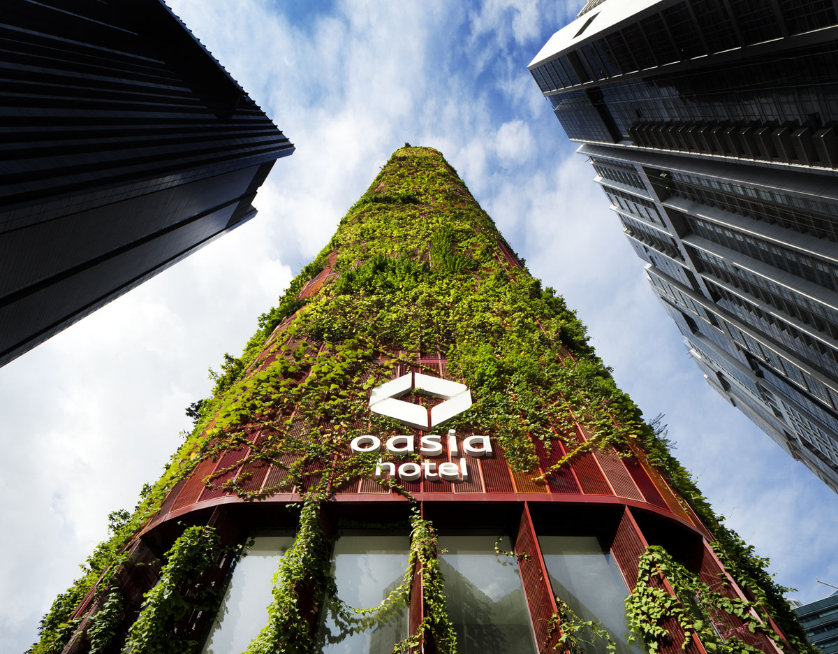Leafy tower sprouts in Singapore's Central Business District