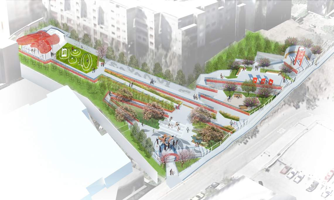 L a chinatown park transforms barren hillside into for Terrace garden meaning