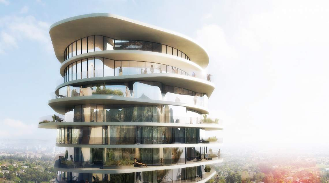 Sinuous hotel tower coming to los angeles 39 sunset strip - Architecture interieurs contemporains sunset strip ...