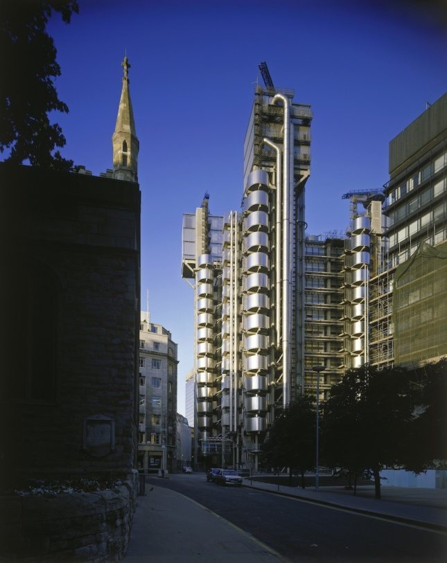 Lloyd's of London, with the steeple of St. Andrew Undershaft to the left. (Richard Bryant/ Courtesy Arcaid Images)