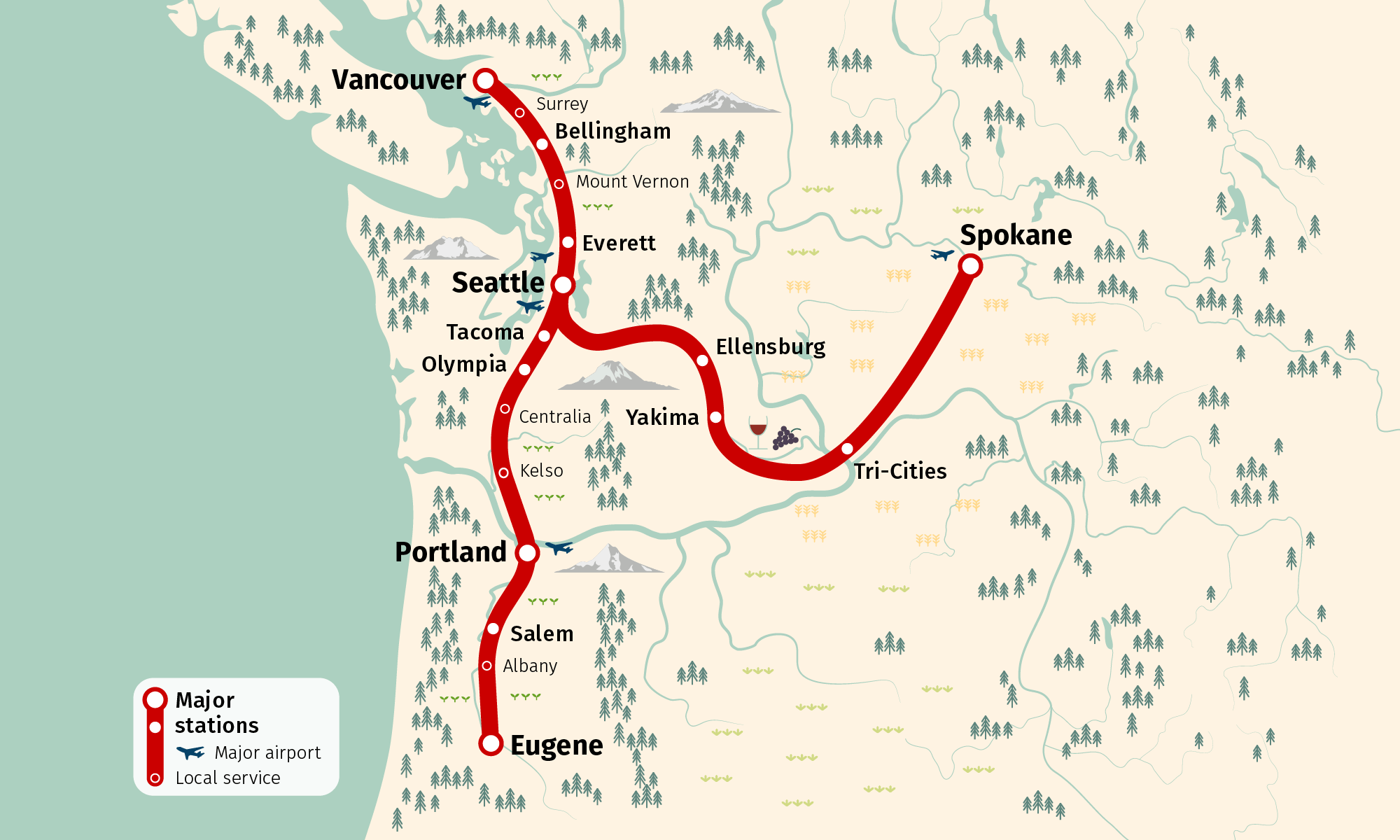 Highspeed rail could link Vancouver Seattle Spokane and Portland