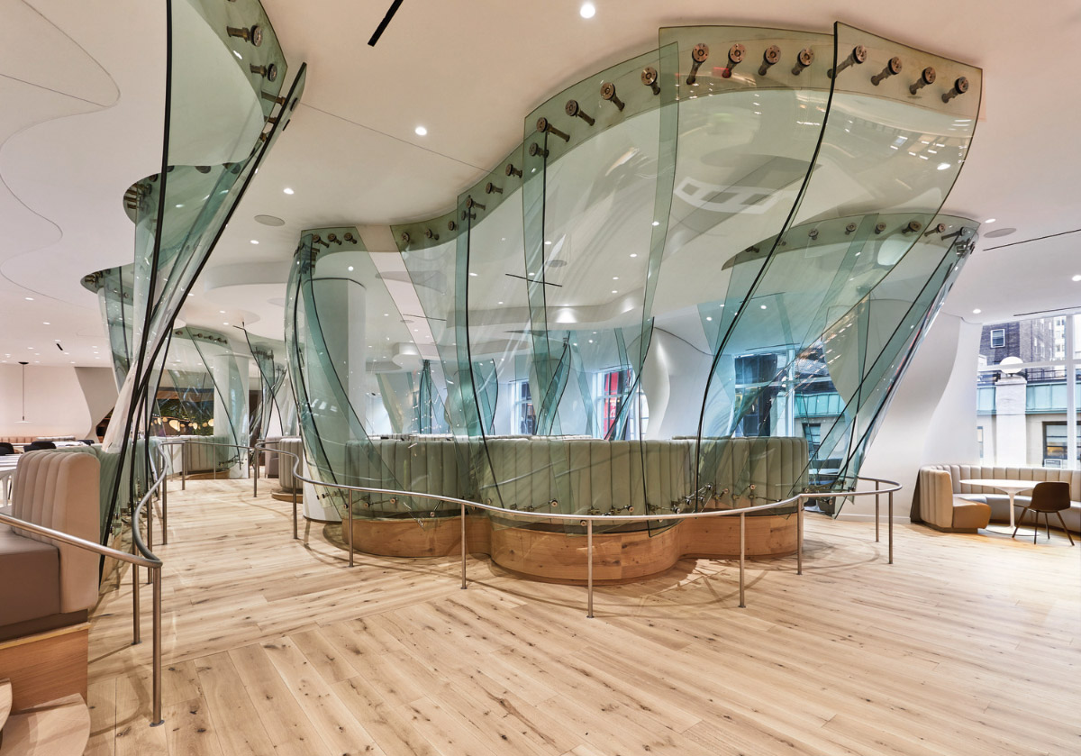 Take a look at revamped gehry cafeteria at former cond for Interior design lighting quiz
