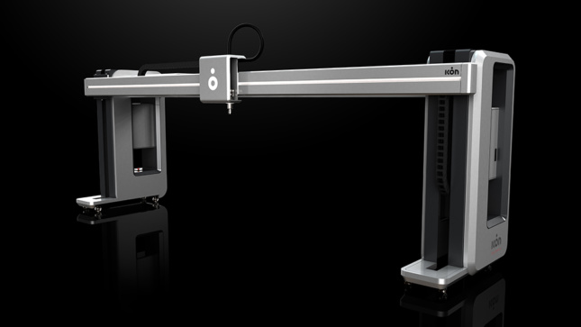 A 3D render of a gantry-style 3D printer