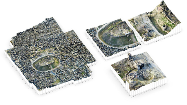 Top-down views of Aleppo as a 3D model