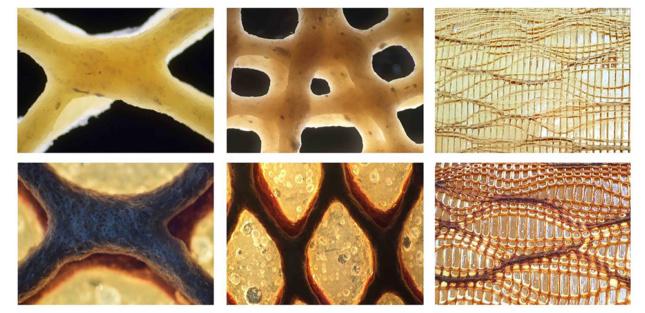 Six closeup photos of various arrangements of biocomposite panels.