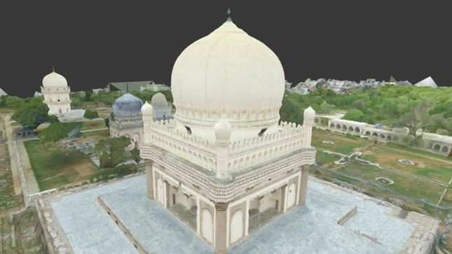 A 3D rendering of a temple derived from photographs