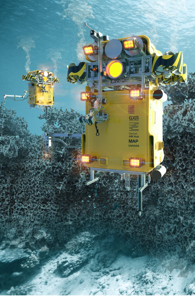 Rectangular yellow robots float undersea near a concrete-colored reef.