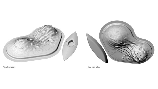 Two ovoid forms rendered with topology