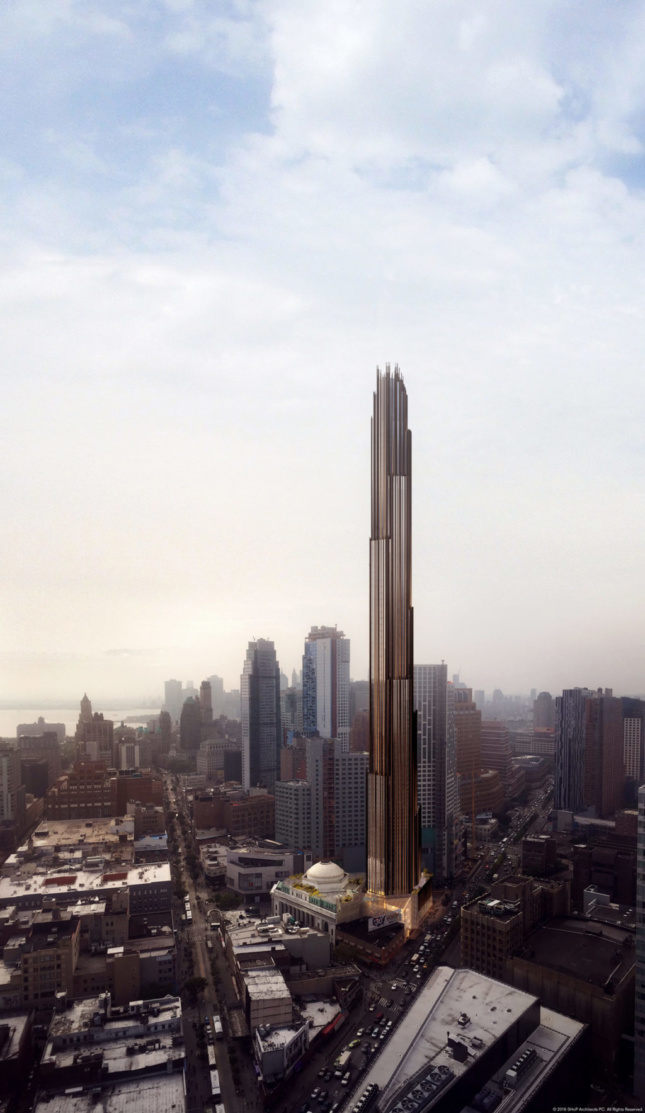 Render of a large glass tower in downtown Brooklyn