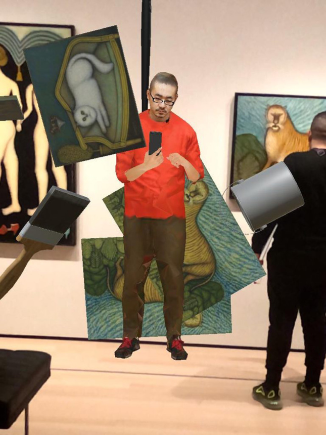 A 3D render of a person standing in front of paintings taking selfies. The paintings are also floating off the wall.