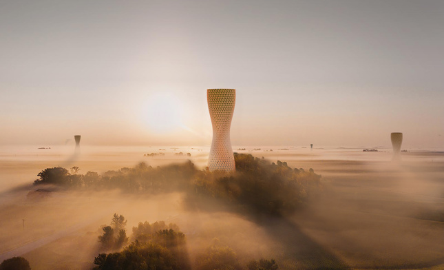 A large tower rising out of an orange-red fog.