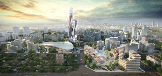A rendering of Akon City, full of undulating glass buildings