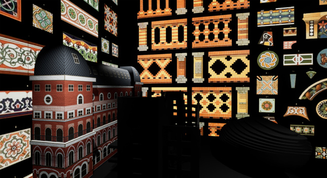 "A 3D model of a a building with various facade and interior details flat agains black ""walls."""