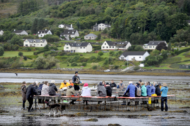 dining on an estuary in scotland