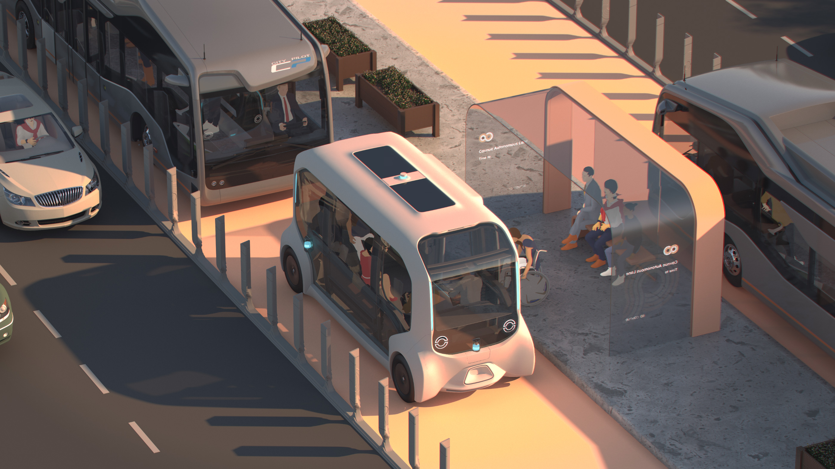 Rendering of someone waiting for a self-driving bus