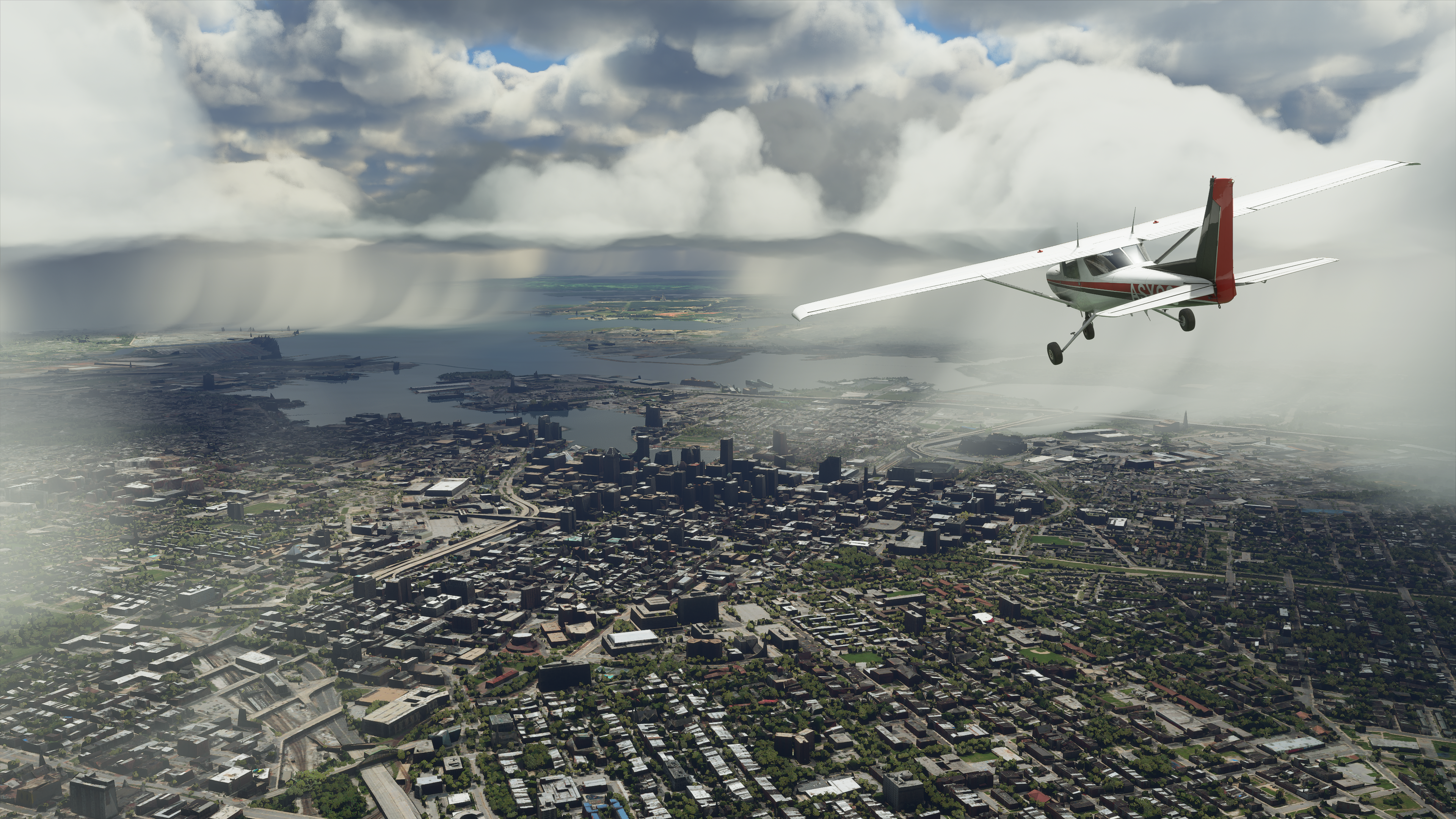 A plane flying above baltimore in a videogame