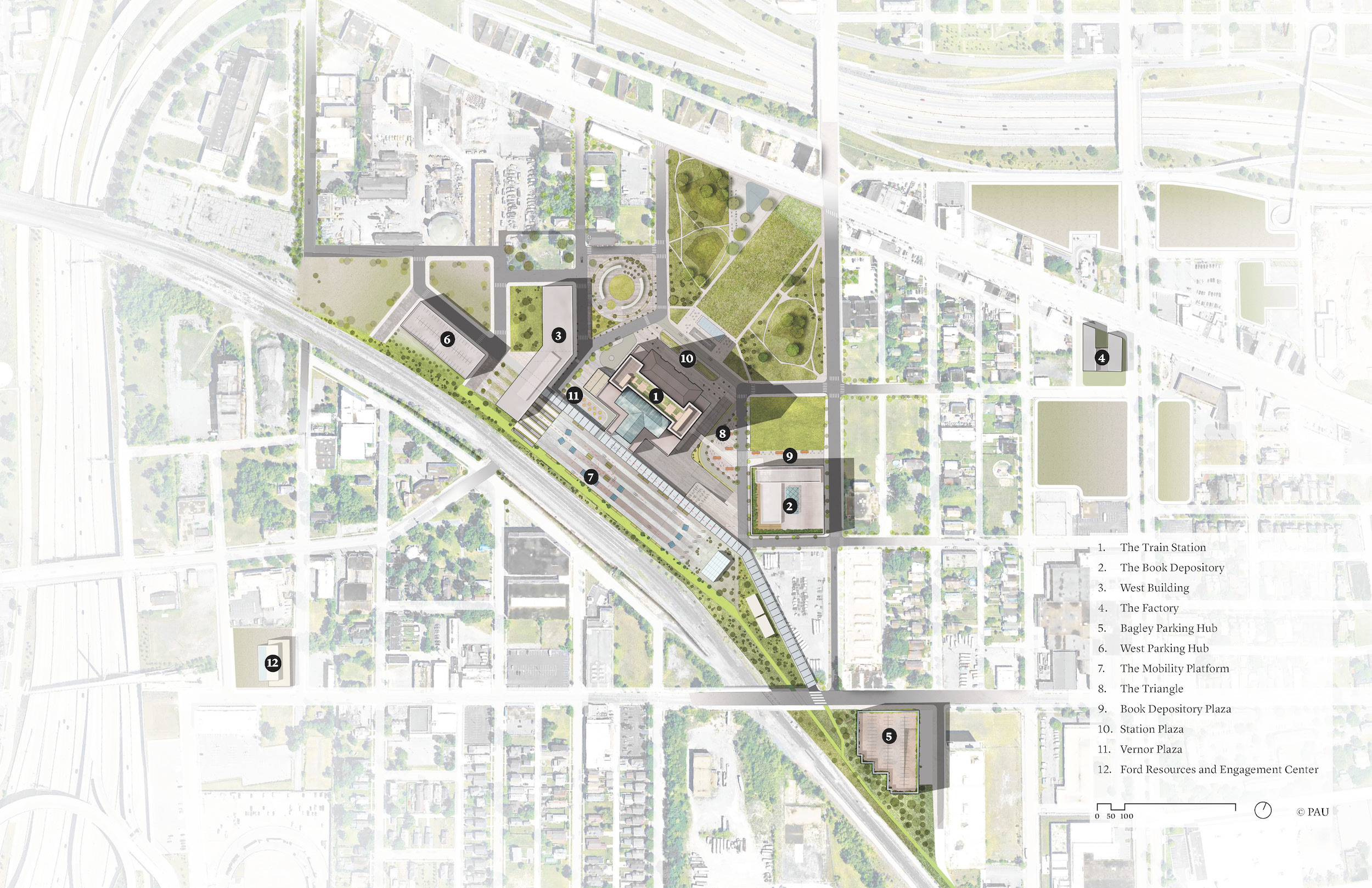 Draft of a site plan for a redevelopment zone in Detroit