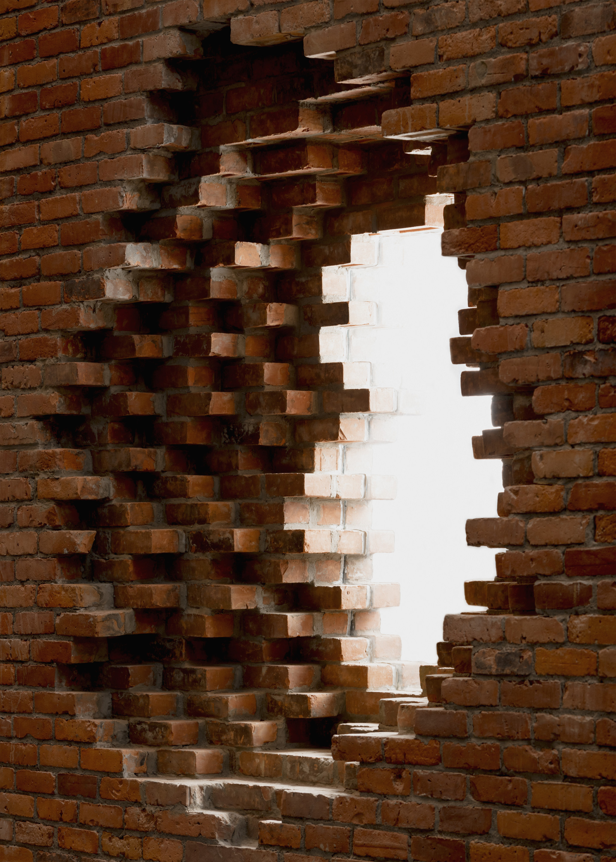 a brick-built architectural encroachment on a wall