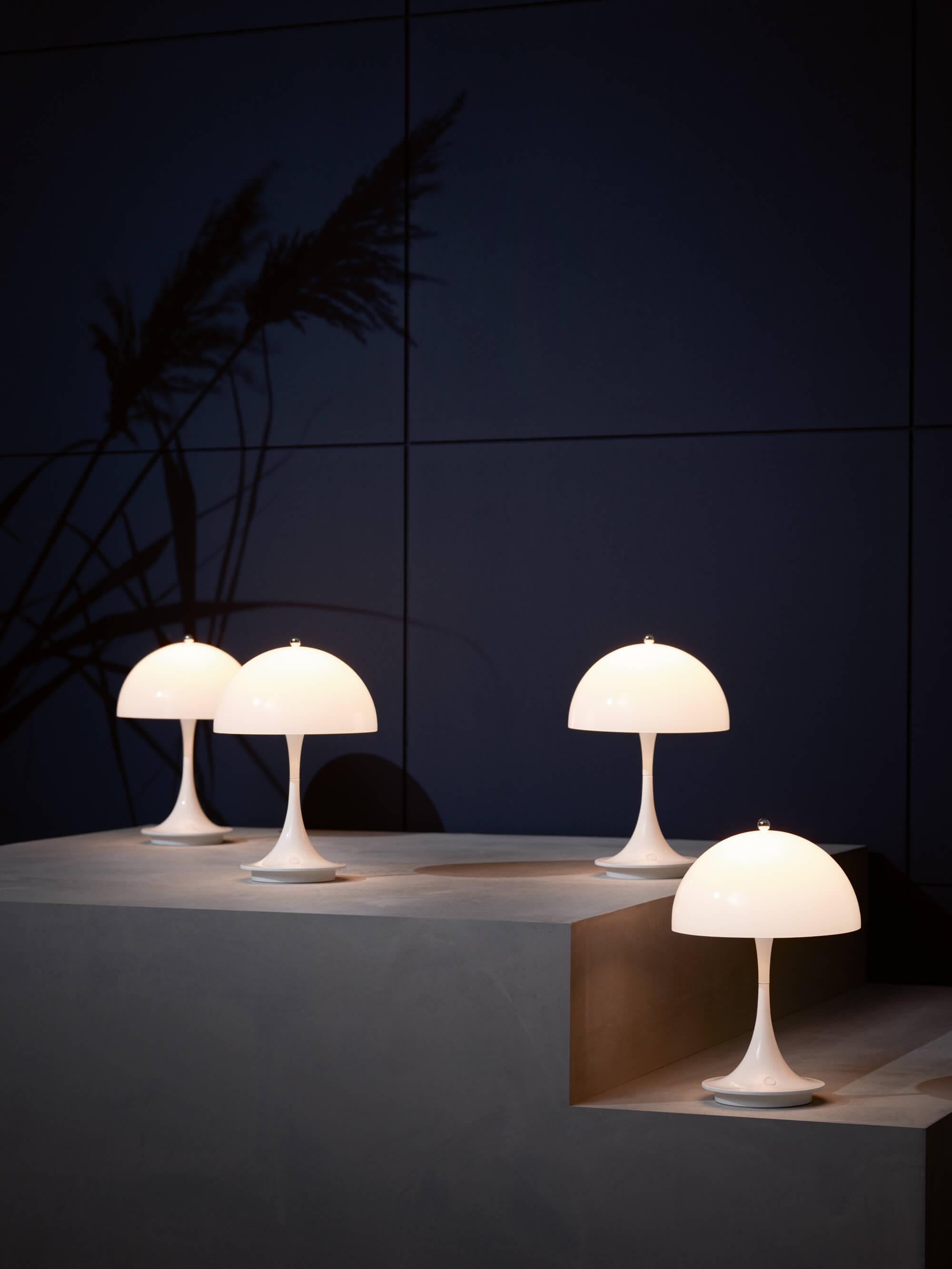 a group of mushroom shaped lights