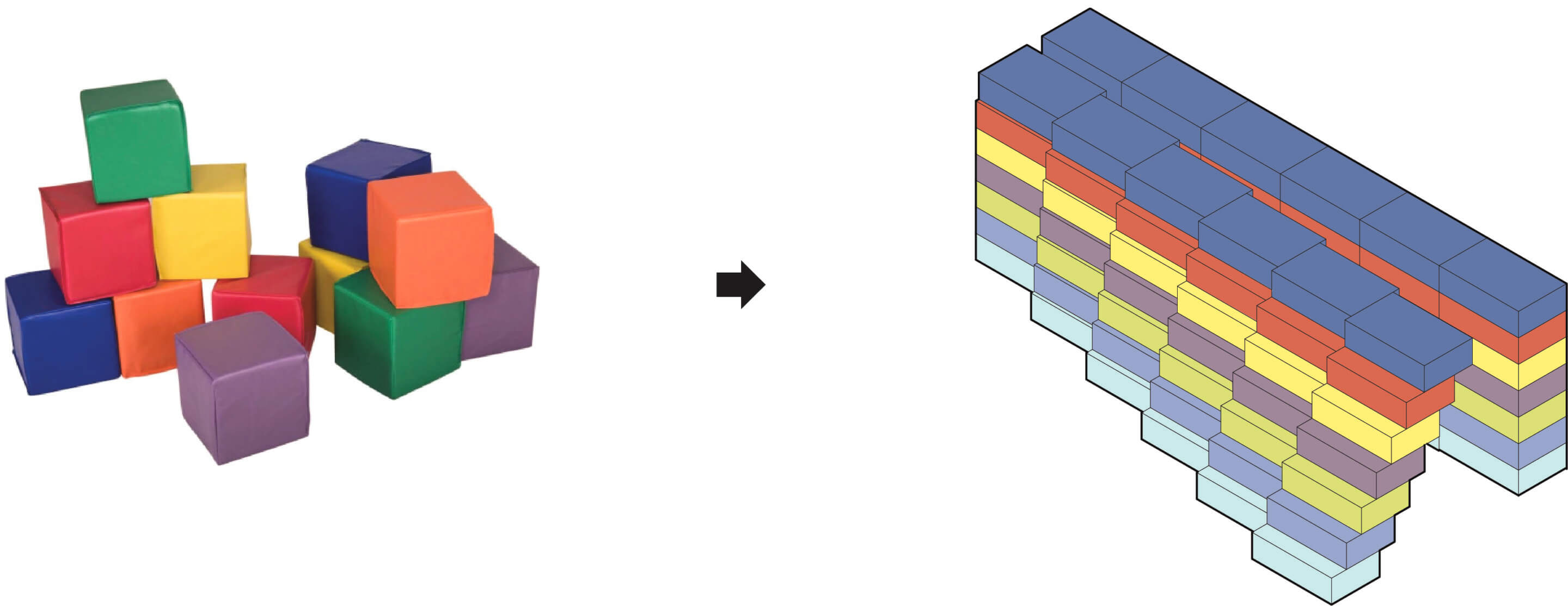 diagram of children's colored building blocks and a colored floor breakdown of the massing of the aya complex