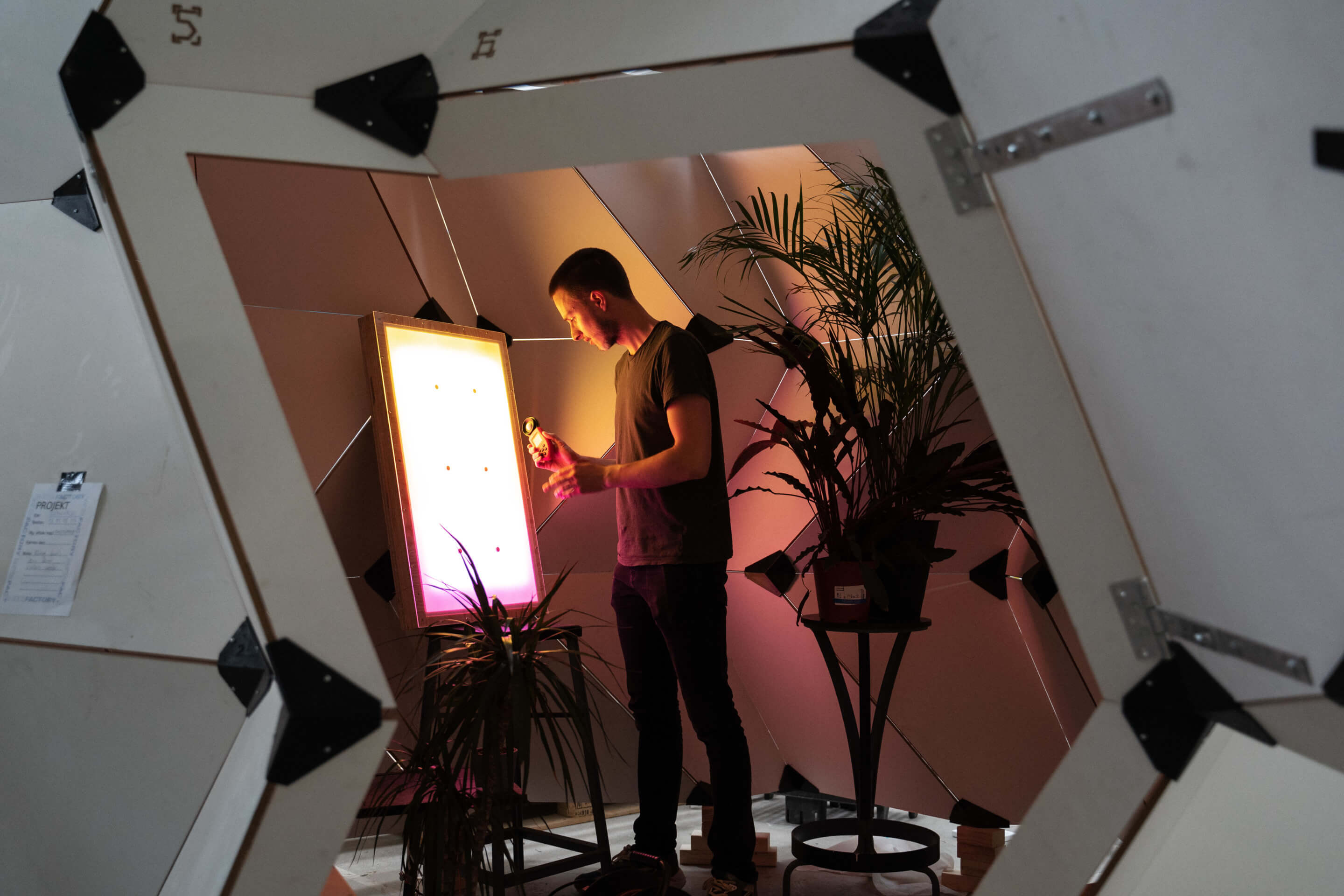 Testing a light panel that ranges from yellow to purple