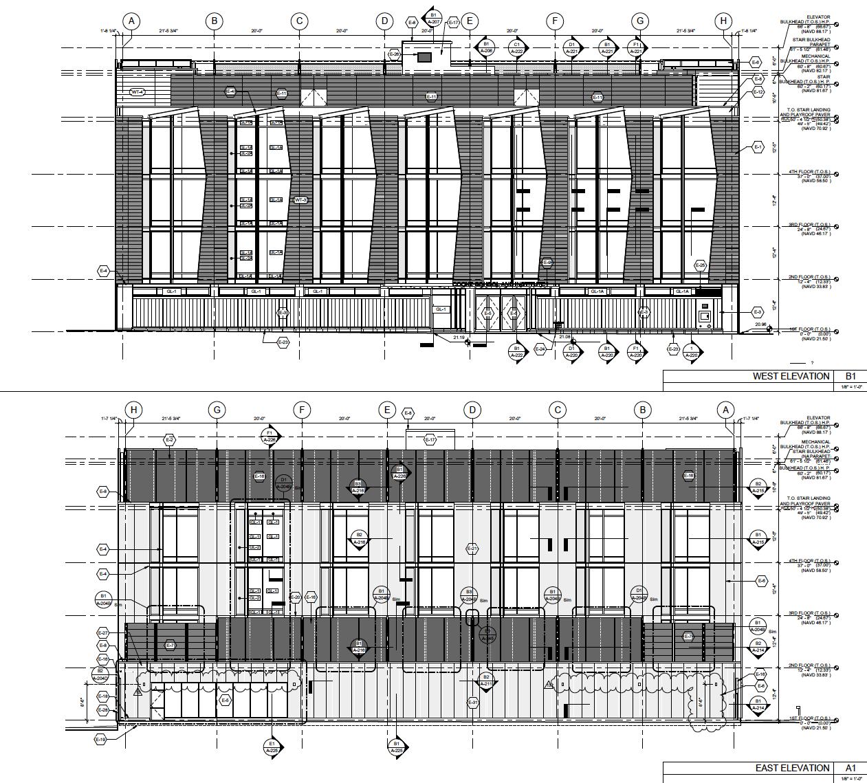 architectural detail of facade assembly