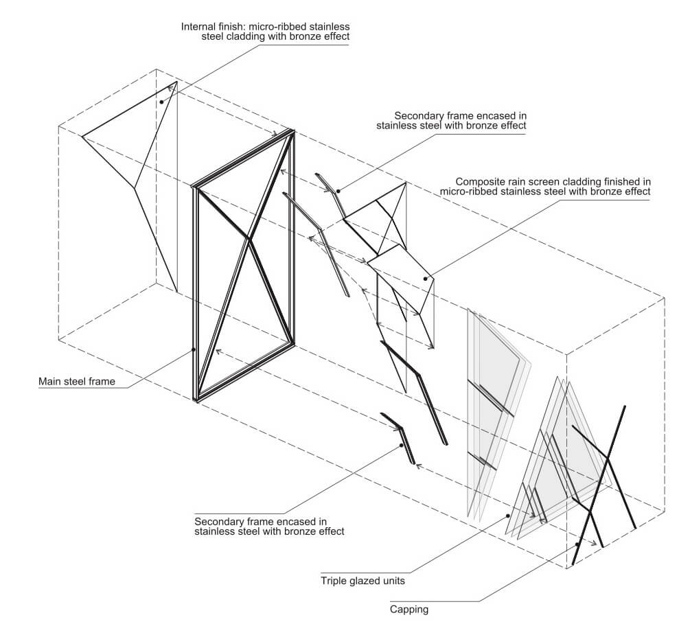 Exploded axonometric of typical cladding module