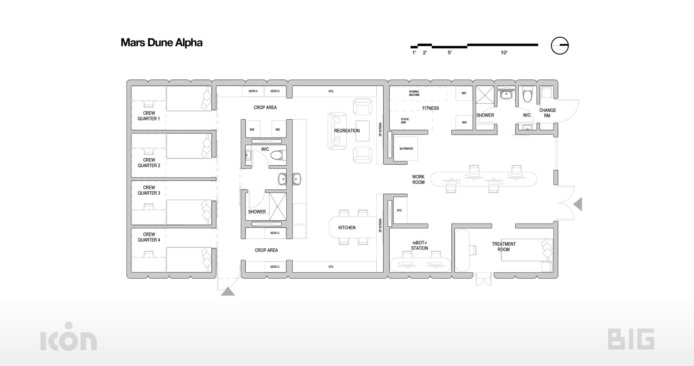 floor plan of a long rectangular space habitat, Mars Dune Alpha