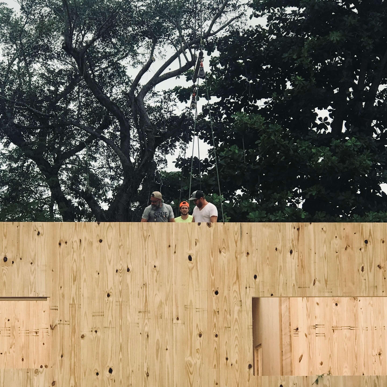 A man atop a tall timber panel in florida