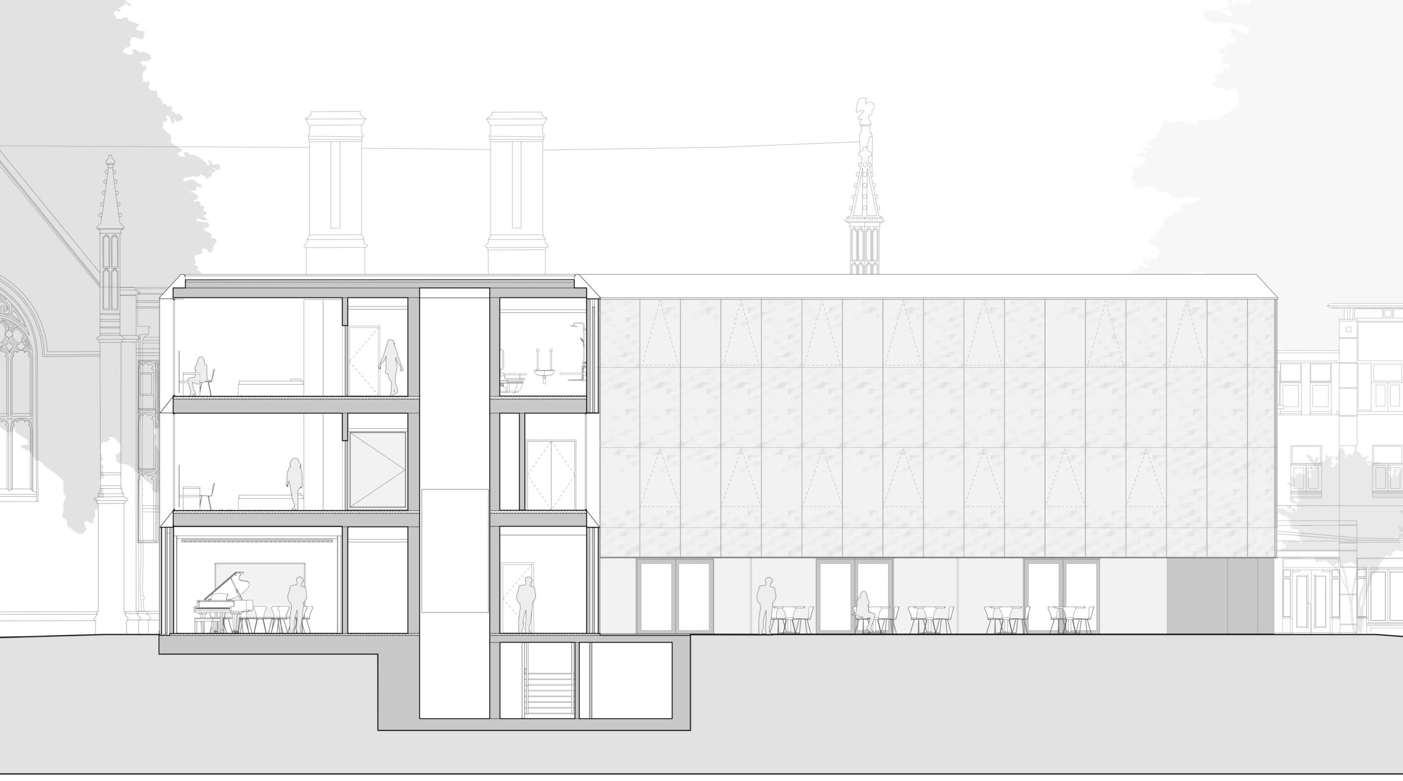 A cross section diagram of the new complex
