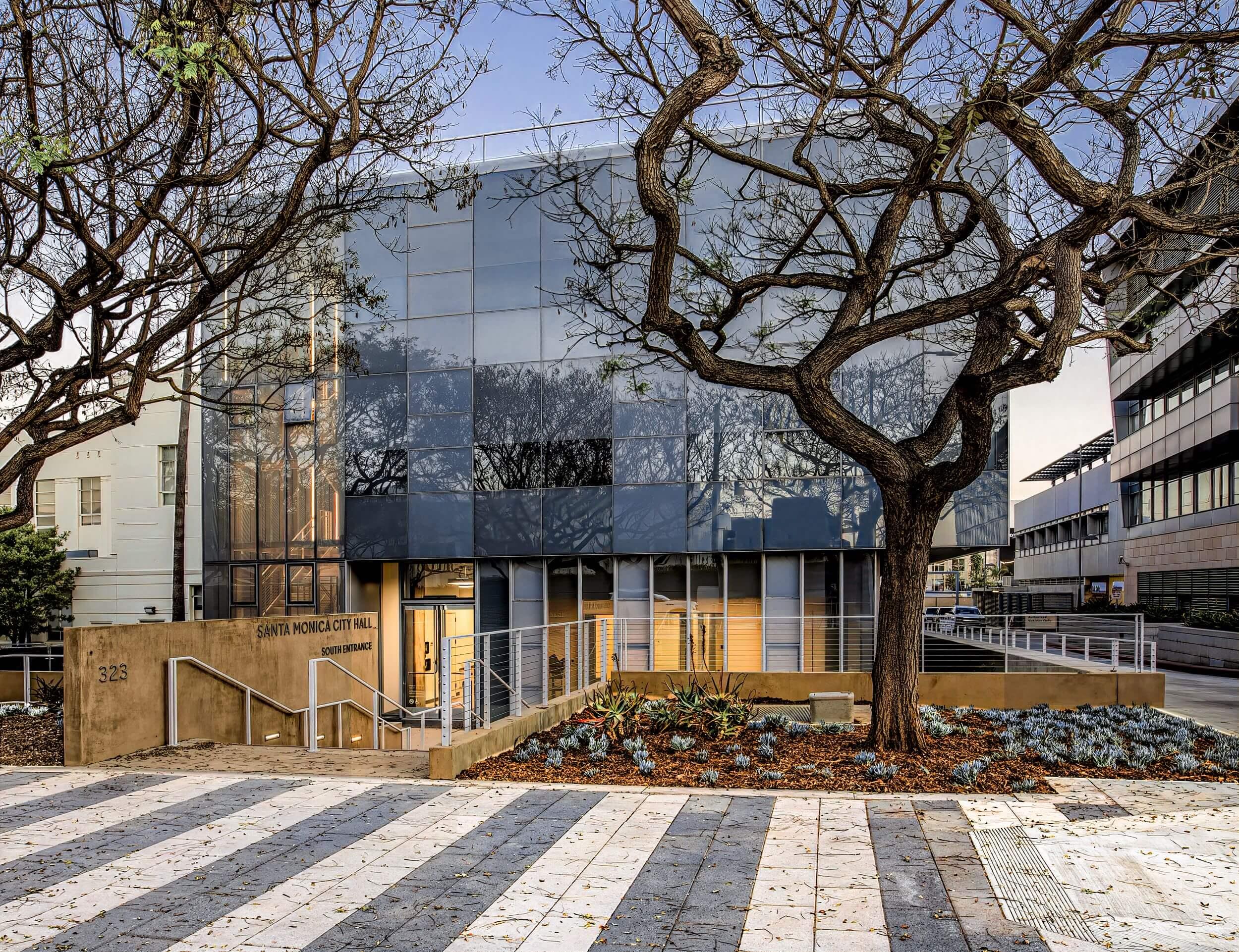 Exterior of a reflective civil services building